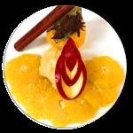 Gewürzorangen mit Apfelkuchen-Eis